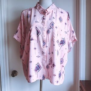 Lularoe Amy Printed Button Up Dolman Shirt